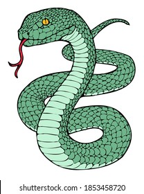 an illustration of a snake with his tongue sticking out of its mouth