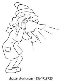 illustration of a sneezing woman with handkerchief