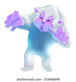 Illustration: Snow Man. A legend monster living in the snow mountains. Fantastic Cartoon Style Character Design.