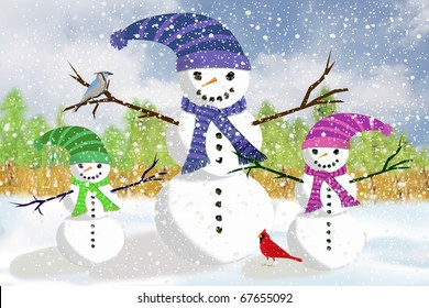 Illustration of a Snowman Father Play Out in the Snow with his daughter and son snow children.
