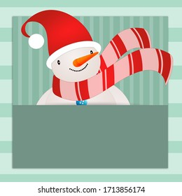 an illustration of snowman with scarf in Christmas day