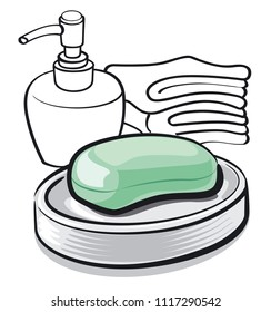 illustration of soap bar in bathroom