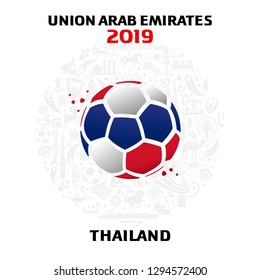 Illustration of a soccer ball in the colors of the national flag. On the background of the football arena.