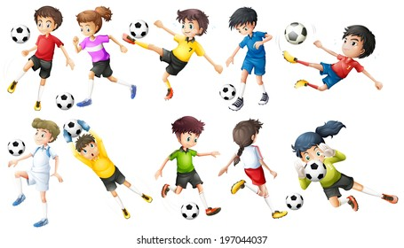 Illustration of the soccer players on a white background