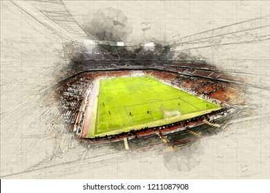 Illustration of soccer stadium