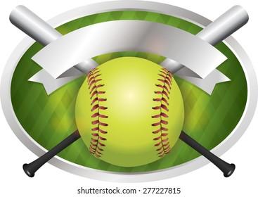 An illustration of a softball and bats on a emblem background.