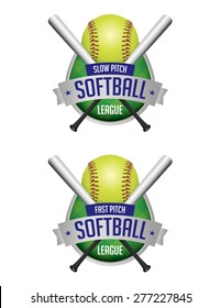 An illustration of softball league emblems and badges.