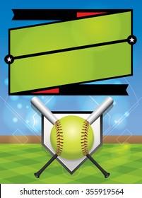 An illustration for a softball league flyer.
