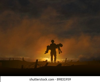 Illustration of a soldier carrying a wounded comrade