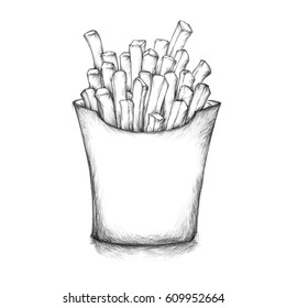 Illustration of some french fries in a box