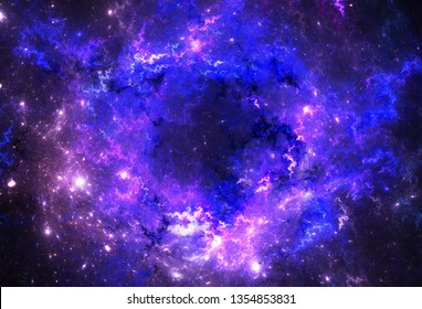 Illustration of a space and starfield on a dark background.