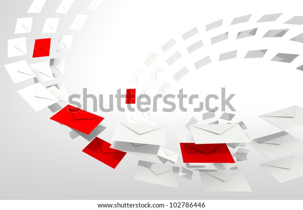 Illustration of Spam e-mail concept with white and red envelopes stream