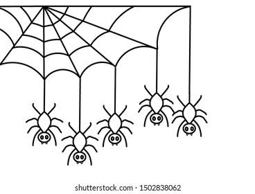 illustration of spider web and Halloween spiders handing on cobweb.