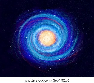 Illustration of Spiral Galaxy, hand drawn stars in space, milky way