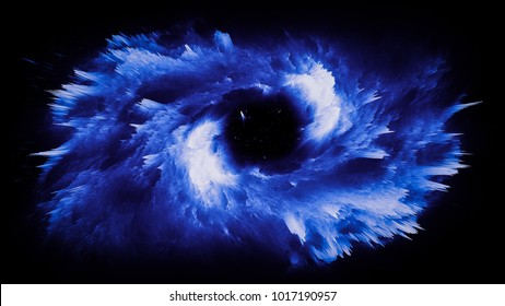 An illustration of an spiraling supernova explosion. The star dust has an array of blues and soft purples throughout the image.