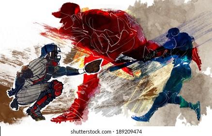 Illustration of sports baseball