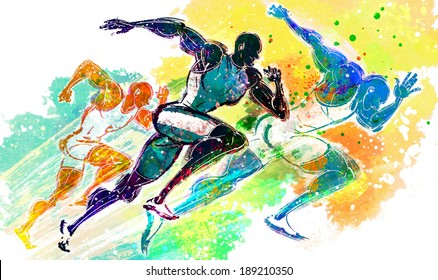 Illustration of sports, running