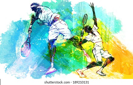 Illustration of sports tennis