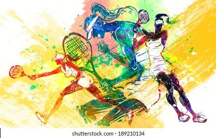 Illustration of sports tennis