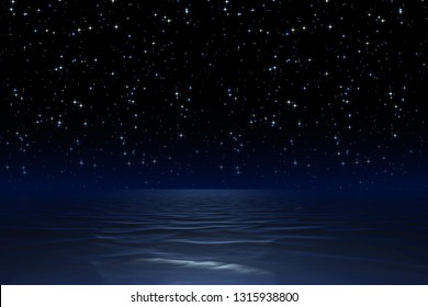 Illustration of a starry night sky at the ocean background
