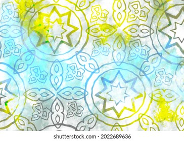 An illustration of stars circles and other design elements in a watercolor wash in gray, blue and gold.