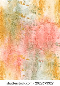 An illustration of stars, circles and other design elements in a watercolor wash of colors in yellow, gold, red and green.