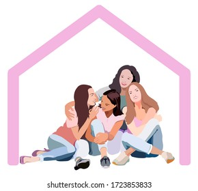 "illustration of ""stay home"" of three daughters with mom on self quarantine"