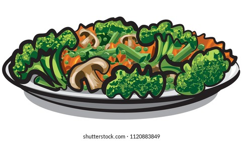 illustration of steamy boiled vegetables and mushrooms in plate
