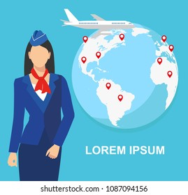 illustration of a stewardess in blue uniform against the background of the world map.Travel concept. bitmap