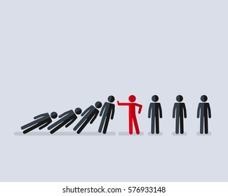 Illustration of stick figure stopping the domino effect with falling stick figures