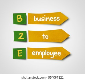 Illustration of sticky note of abbreviation b2e business to employee
