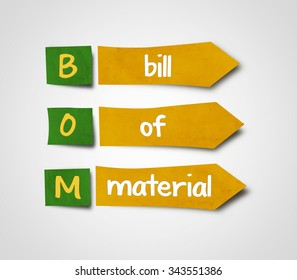 Illustration of sticky note of abbreviation bom bill of material