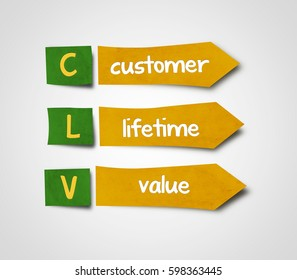 Illustration of sticky note of abbreviation clv  customer lifetime value