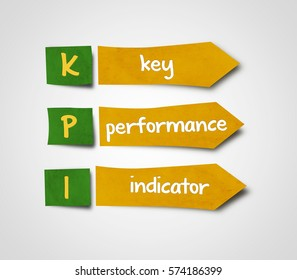 Illustration of sticky note of abbreviation kpi key performance indicator