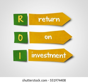 Illustration of sticky note of abbreviation roi return on investment