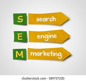 Illustration of sticky note of abbreviation sem  search engine marketing