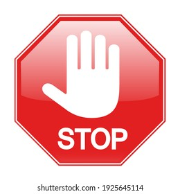 illustration Stop Hand Block Octagon Sign or Adblock or Do Not Enter with shadow on white background