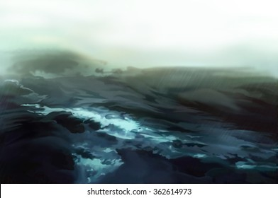 Illustration: The Storm Sea. Realistic Fantastic Cartoon Style Artwork Scene, Wallpaper, Game Story Background, Card Design