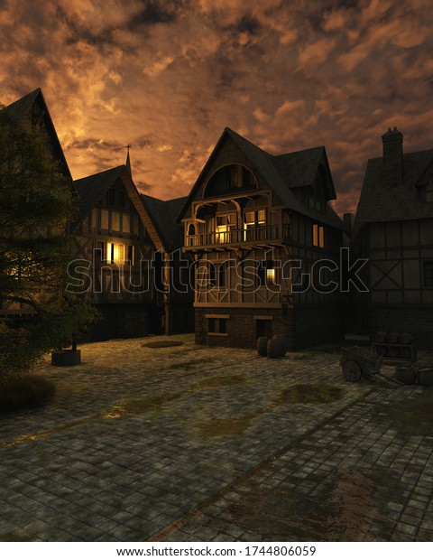 Illustration of a street scene set in a European town during the Middle Ages or Medieval period just after sunset, 3d digitally rendered illustration. 3d rendering