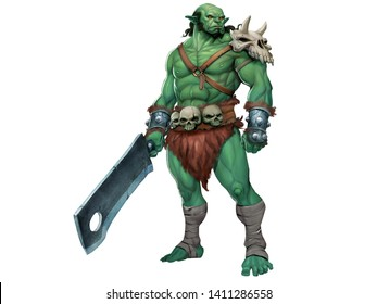 Illustration of Strong Male Green Orc with Simple Skulls Armor and Big Sword