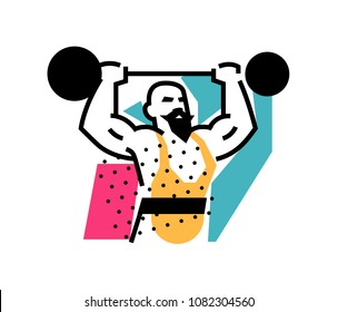 Illustration of the strongman, weightlifter, circus. Icon logo for circus or sports studio. An illustration for a site, a poster, a postcard. Image is isolated on white background.