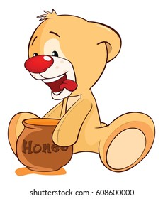 Illustration of a Stuffed Toy Bear Cub and a Honeypot. Cartoon Character