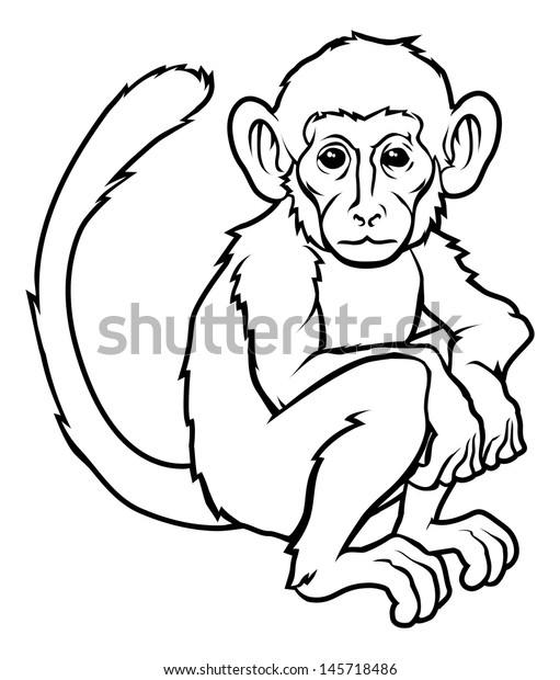 147661a07 An illustration of a stylised monkey perhaps a monkey tattoo