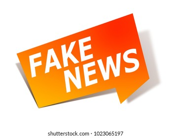 An illustration of a stylish red design label with text fake news