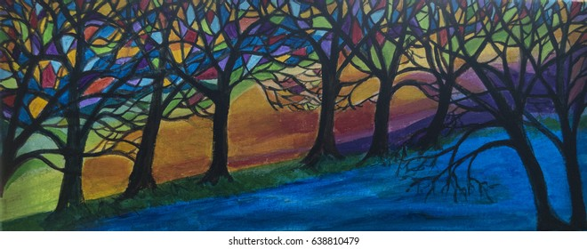 An illustration of stylized trees in bright colors. The trees have branches filled with panels of color and a blue stream runs along the foreground.