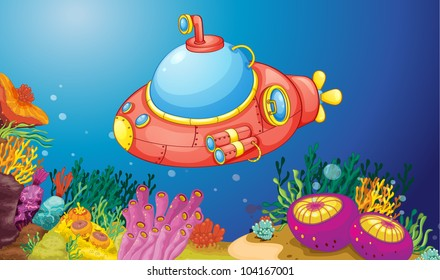 illustration of a submarine underwater - EPS VECTOR format also available in my portfolio.