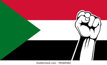 Illustration of Sudan Independence Day concept and Sudanese support the nation. Left-handed fist on the Sudan flag as a background.