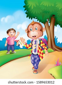 an illustration of suited monkey for book
