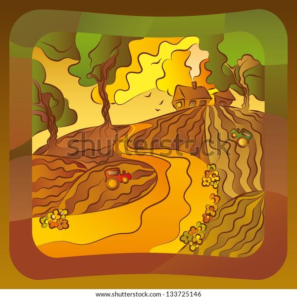 Illustration with a summer solar rural landscape.