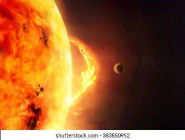 An illustration of a sun flare with a planet to give scale.